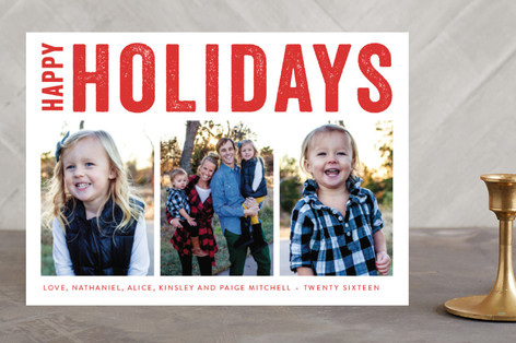 Merry Triptych New Year Photo Cards