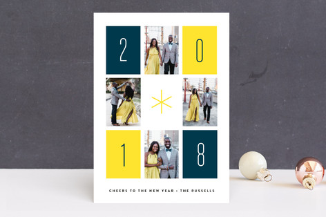 Retro Rectangles New Year Photo Cards
