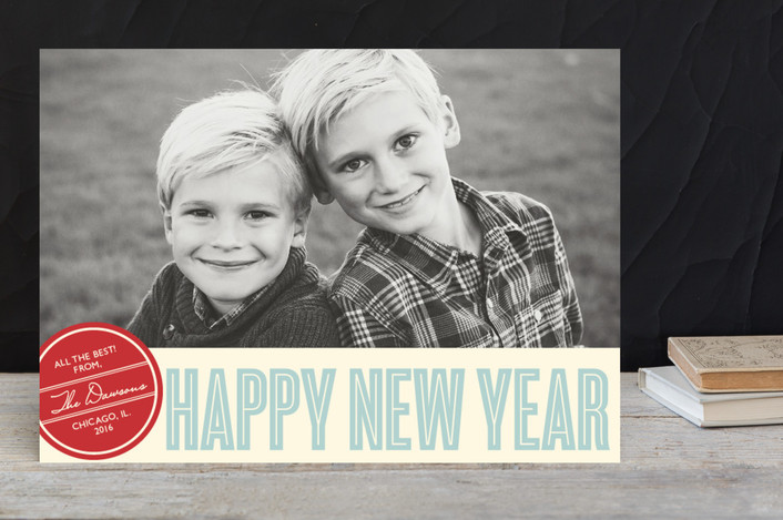 """""""Retro Peace"""" - Modern New Year Photo Cards in Robin Egg by annie clark."""