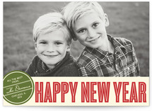 Retro Peace New Year's Photo Cards