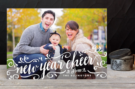 Festive Flourish New Year Photo Cards