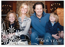 Snowflake Whimsy New Year&#039;s Photo Cards