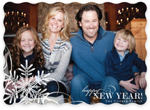 Snowflake Whimsy New Year's Photo Cards
