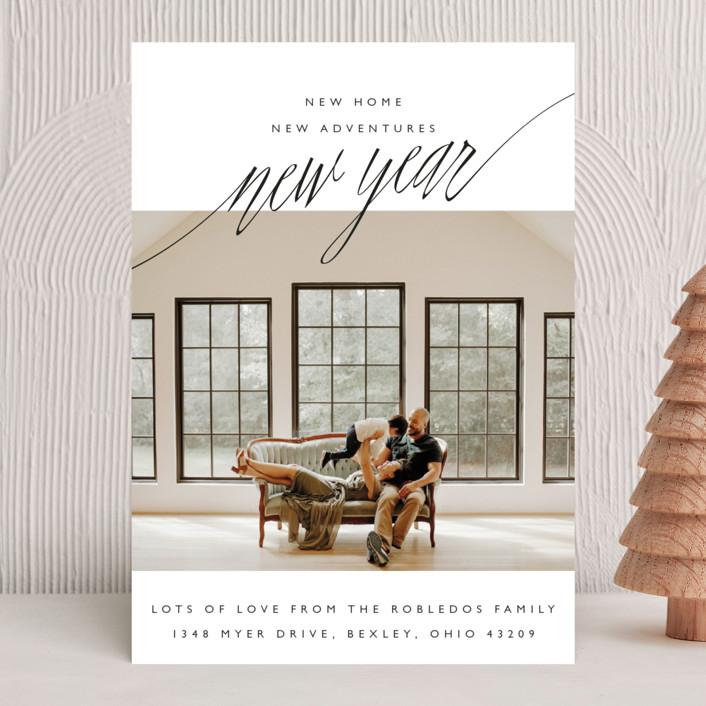 """New Adventures"" - Modern, Minimalist New Year Photo Cards in Onyx by Oscar & Emma."