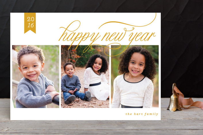 """Classic New Year"" - Photo Collage New Year Photo Cards in Camel by Yolanda Mariak Chendak."
