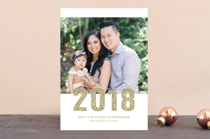 """Sparkling"" - Modern New Year Photo Cards in Gold by Sarah Wrede."