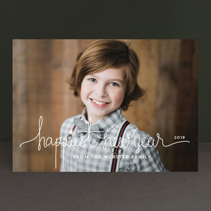 """""""Holiday Revelry"""" - Modern, Full-Bleed Photo New Year Photo Cards in Frost by Design Lotus."""