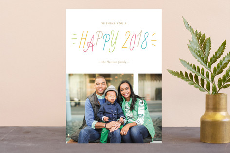 Confetti Color New Year Photo Cards