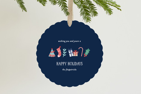 Illustrated Gifts Holiday Ornament Cards