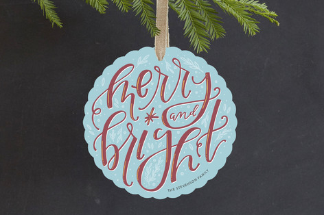 Handlettered Merry and Bright Holiday Ornament Cards