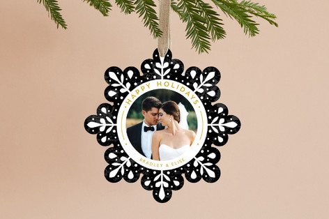 Swanky Snowflake Holiday Ornament Cards