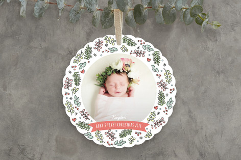 sweet baby wreath holiday ornament cards