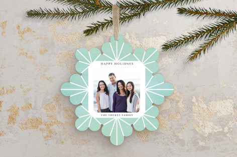 Geometric Snowflake Watercolor Holiday Ornament Cards