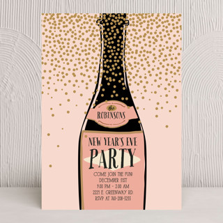 Pink Champagne Holiday Party Invitations