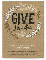 Rustic Give Thanks Holiday Party Invitations