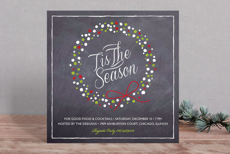 Chalkboard Wreath Holiday Party Invitations
