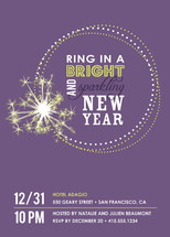 Bright and Sparkling New Year Holiday Party Invitations