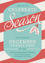 A Season for Stripes Holiday Party Invitations