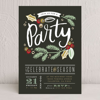 Party Pine Branches Holiday Party Invitations