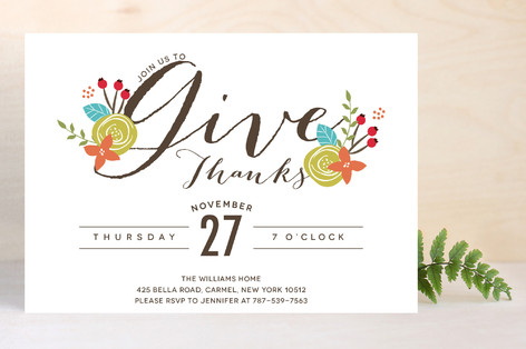 Thankful Greeting Holiday Party Invitations