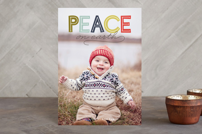 """""""Modern Headline"""" - Bold typographic, Full-Bleed Photo Holiday Postcards in Olive by Jody Wody."""