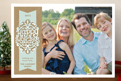 Kraft Ribbon Holiday Postcards