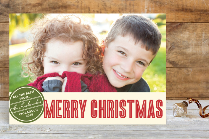"""""""Retro Peace"""" - Modern Holiday Postcards in Cranberry Red by annie clark."""