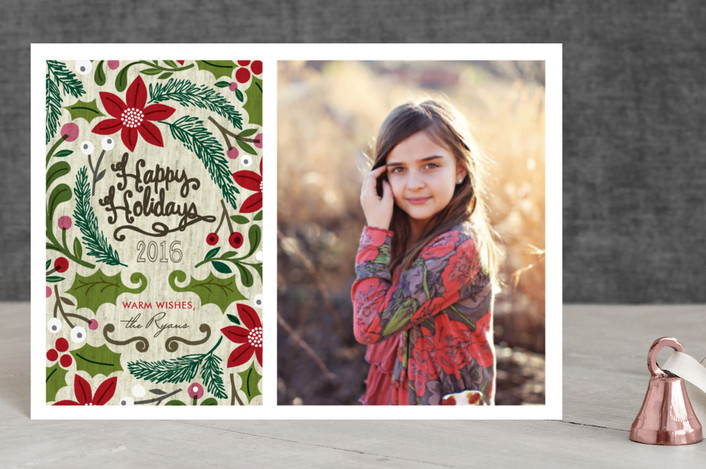 """""""Sketchbook Foliage"""" - Rustic/Craft, Hand Drawn Holiday Postcards in Red Holly by Alethea and Ruth."""