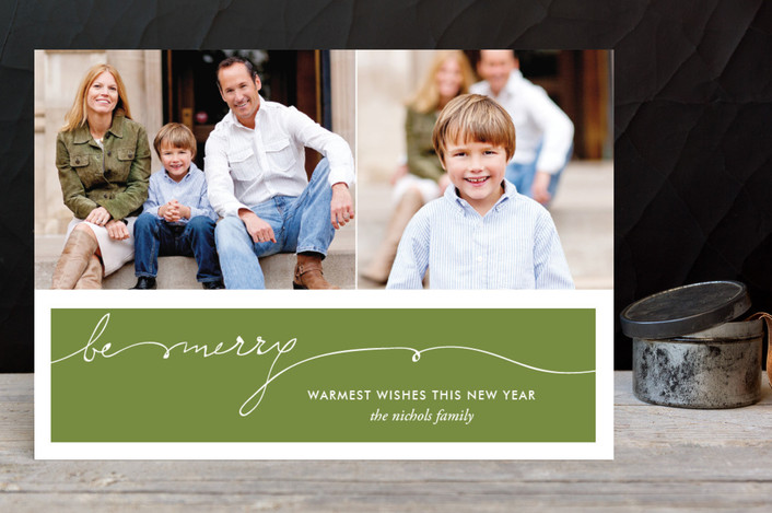 """""""Be Merry Handwriting"""" - Minimalist, Simple Holiday Postcards in Olive by SimpleTe Design."""