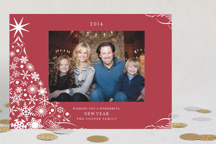 """""""Snowflake Tree"""" - Elegant, Modern Holiday Postcards in Maroon by Pixie Stick Press."""