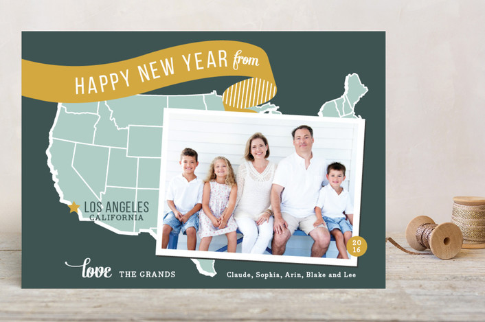 """""""Holiday Map - West Coast"""" - Modern, Vintage Holiday Postcards in Mustard by Jill Means."""