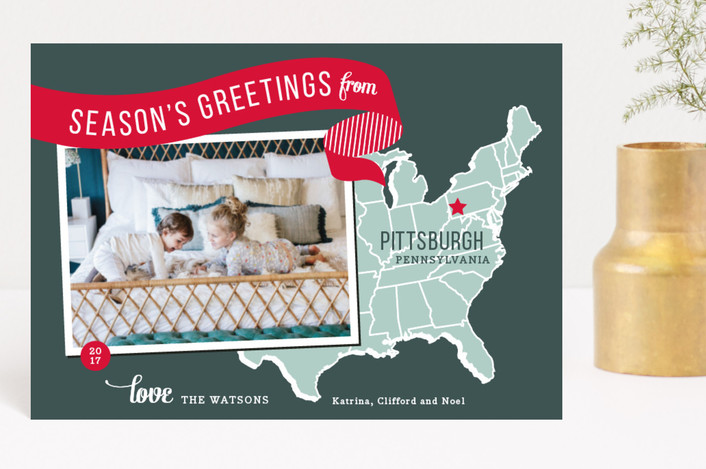 """""""Holiday Map - East Coast"""" - Modern, Vintage Holiday Postcards in Mustard by Jill Means."""