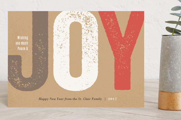 """Joy Impressed"" - Bold typographic, Modern Holiday Postcards in Mocha by Jennifer Wick."