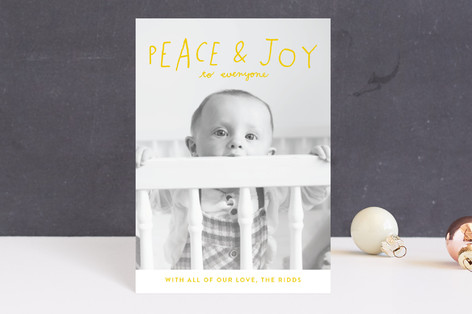 Hand Lettered Peace and Joy Holiday Postcards