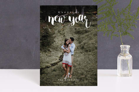 Brush Lettered New Year Holiday Postcards