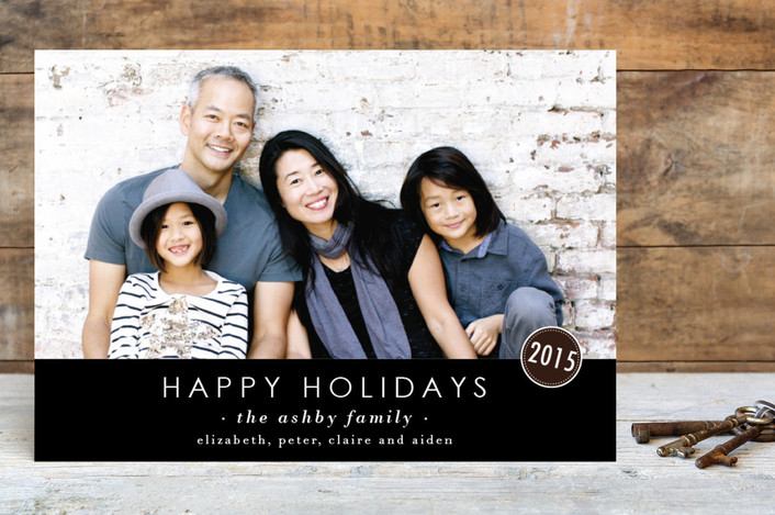 """""""The Basics"""" - Modern, Minimalist Holiday Postcards in Charcoal by Design Lotus."""