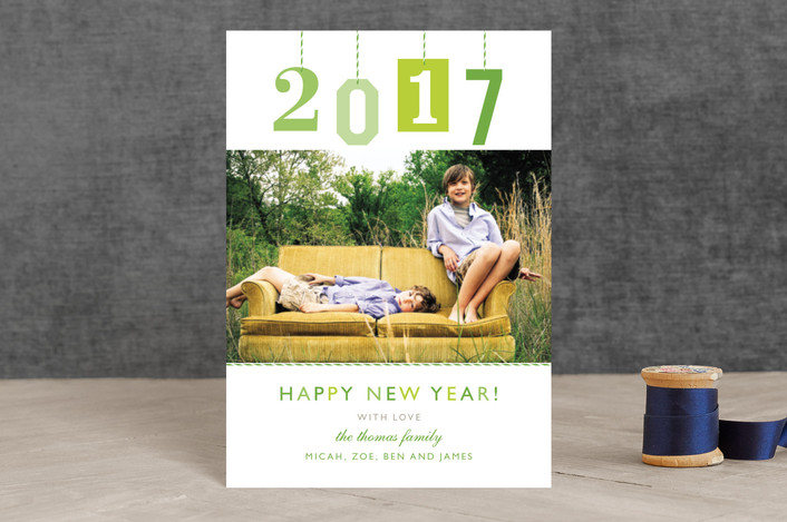 """""""New Year Gift Tag"""" - Modern Holiday Postcards in Mint by j.bartyn."""