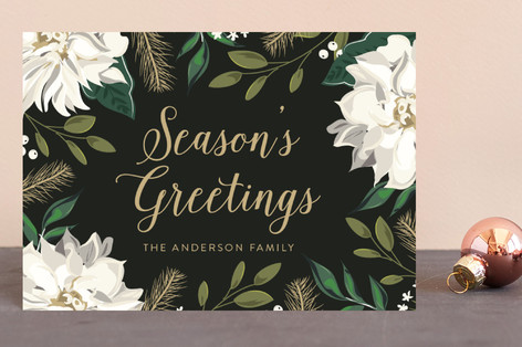 Christmas Floral Surround Holiday Postcards