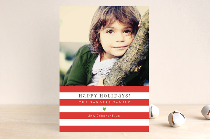 """Bright Stripes"" - Modern Holiday Postcards in Crimson by Jill Means."
