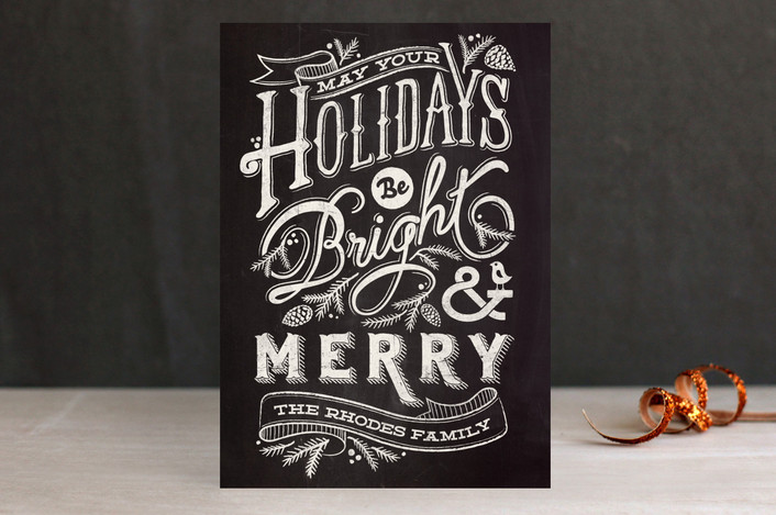 """""""Bright and Chalky"""" - Hand Drawn, Bold typographic Holiday Postcards in Charcoal by GeekInk Design."""