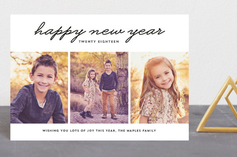 New Year 3 Photo Holiday Postcards