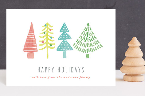 Whimsical Trees Holiday Postcards