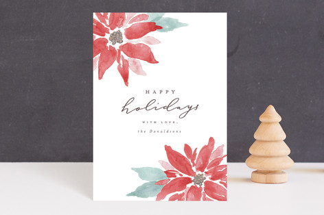 Painted Poinsettias Holiday Postcards