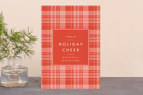 Cheerful Plaid Holiday Postcards
