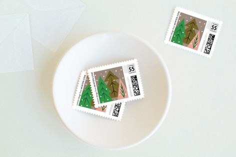 Multi Trees Holiday Stamps