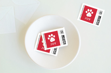 Paw Print Holiday Stamps