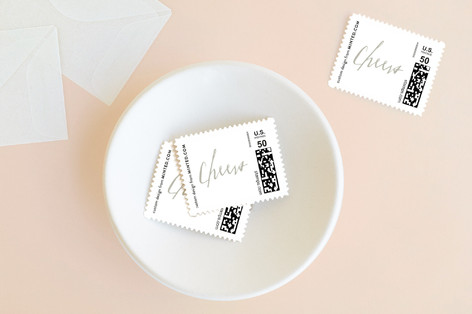 Calligraphy Cheers Holiday Stamps
