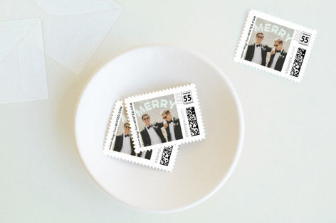 Curved Merry Holiday Stamps