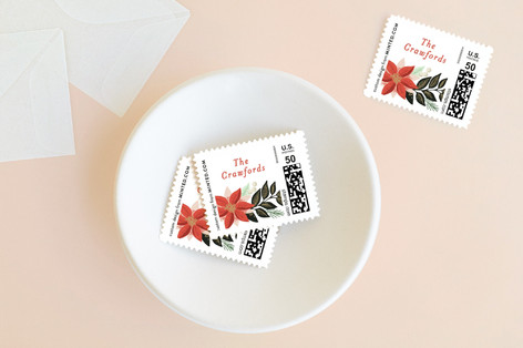 floral garland Holiday Stamps