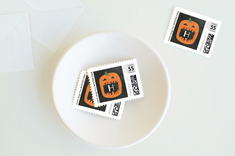 Watercolor Pumpkin Holiday Stamps